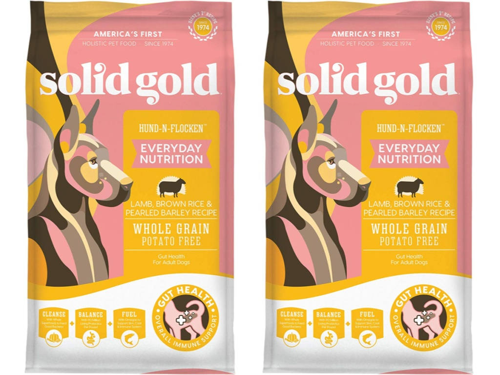 two bags of solid gold dog food