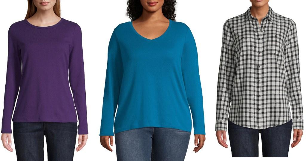 women modelling purple, blue and plaid shirts