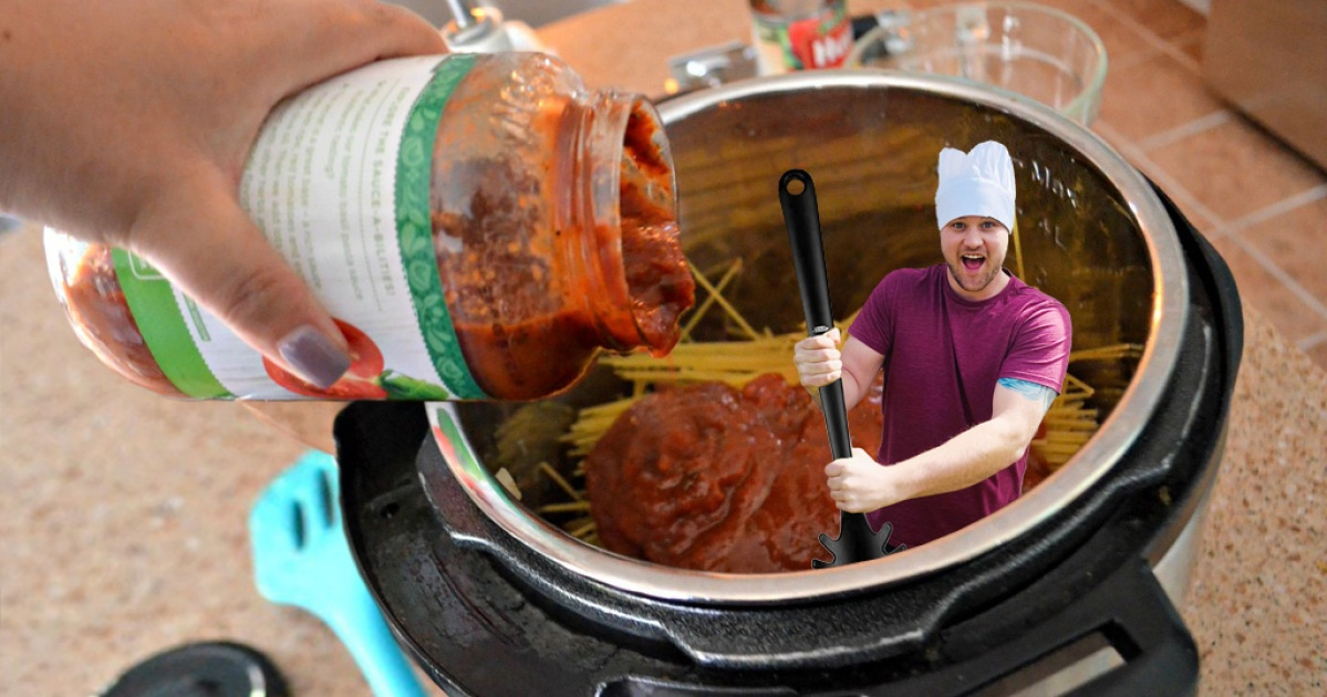 man in chef hat stirring pasta in pressure cooker