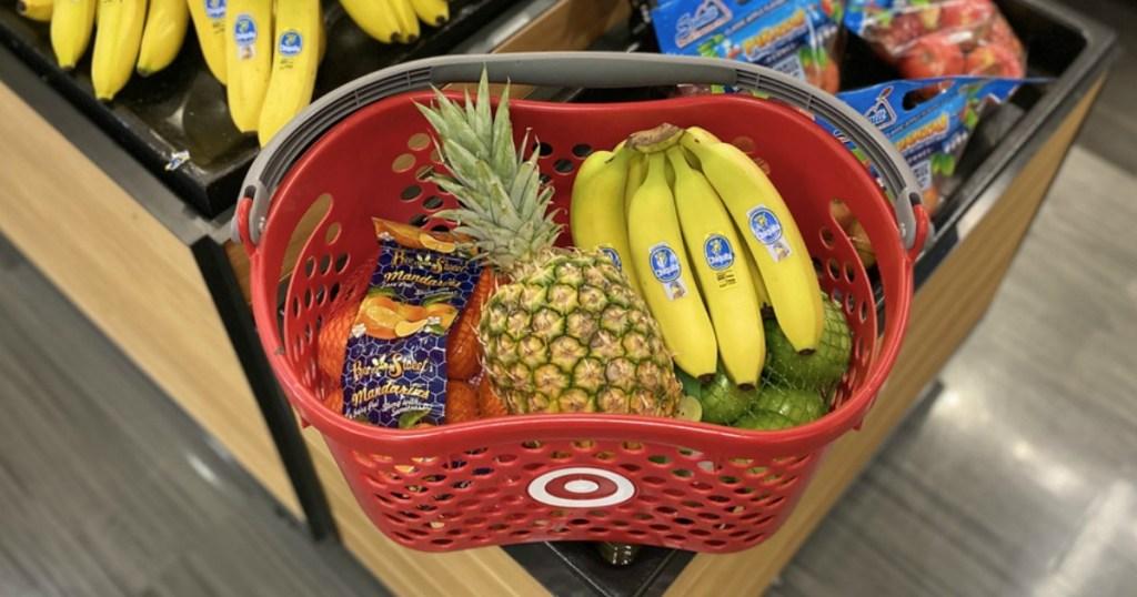 basket of fruits and vegetables in a Target basket