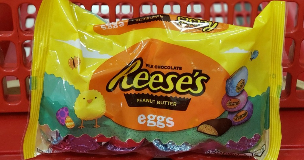 easter candy in a store shopping cart