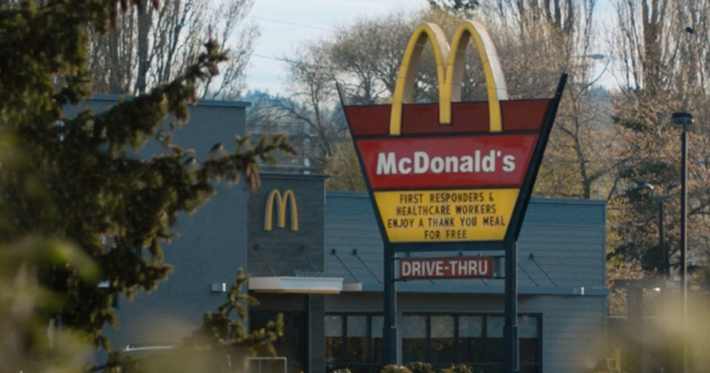 McDonald's sign offering free meals to healthcare workers