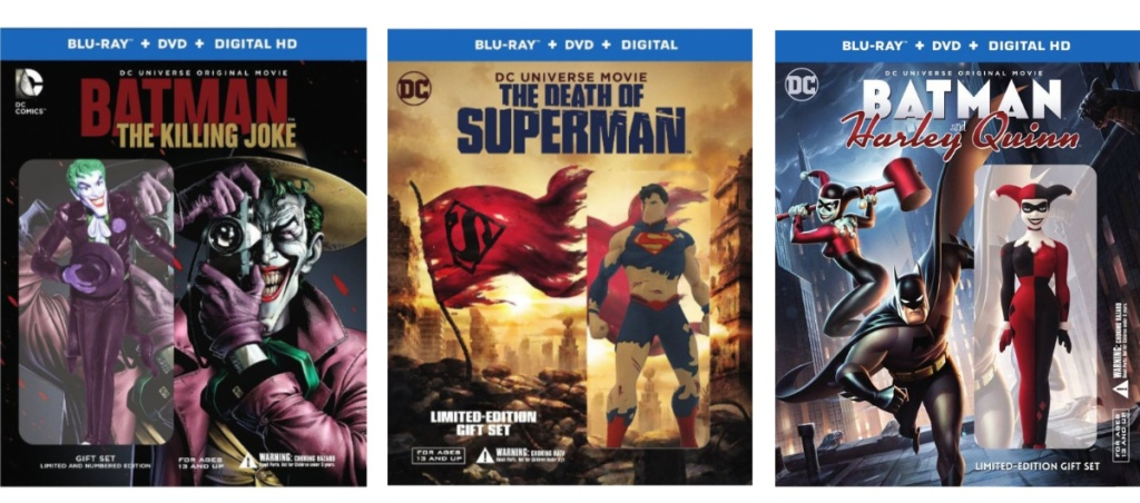 the death of superman, batman the killing joke and batman harley quinn dvd covers