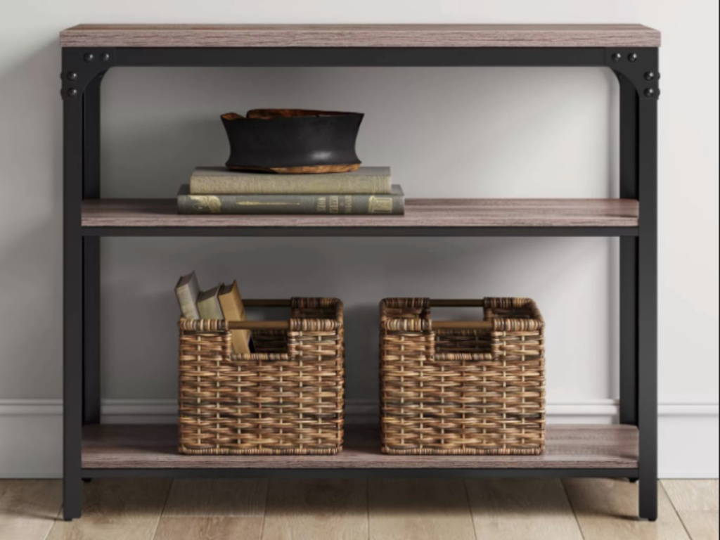 threshold jackman industrial wood 2 shelf