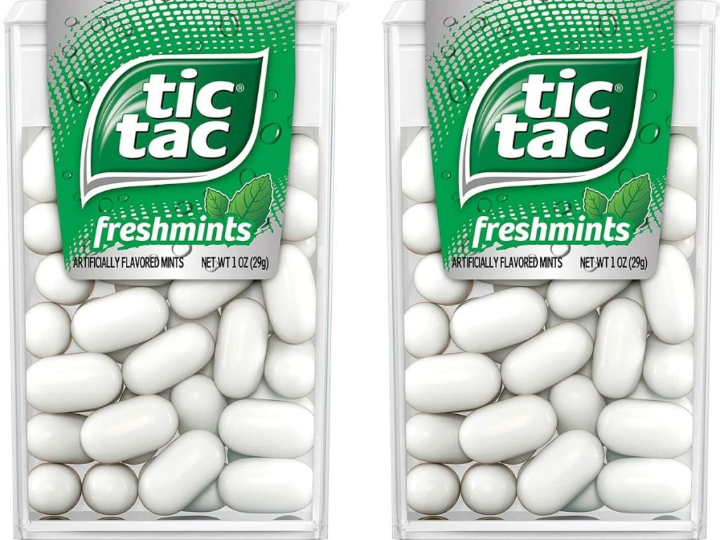 two packs of tic tac mints