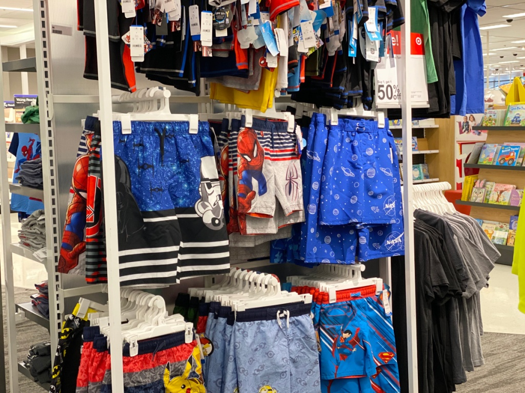 boys swim trunks in store