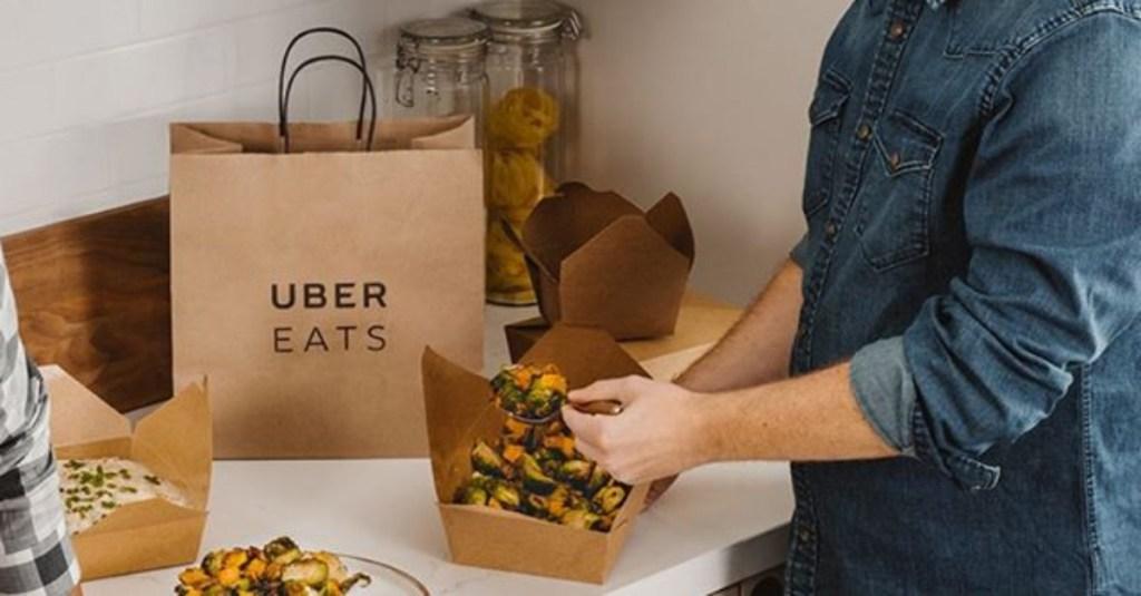 Uber Eats bag on counter