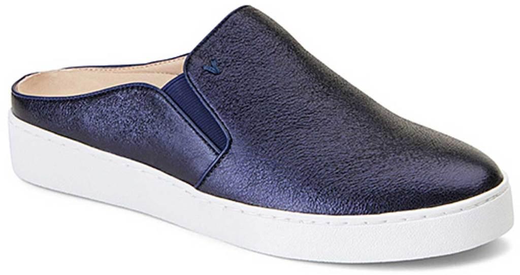 Vionic Women's Navy Dakota Metallic Leather Mule Sneaker