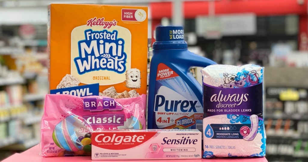 cereal, jelly beans, toothpaste, laundry detergent and incontinence products on display in a store