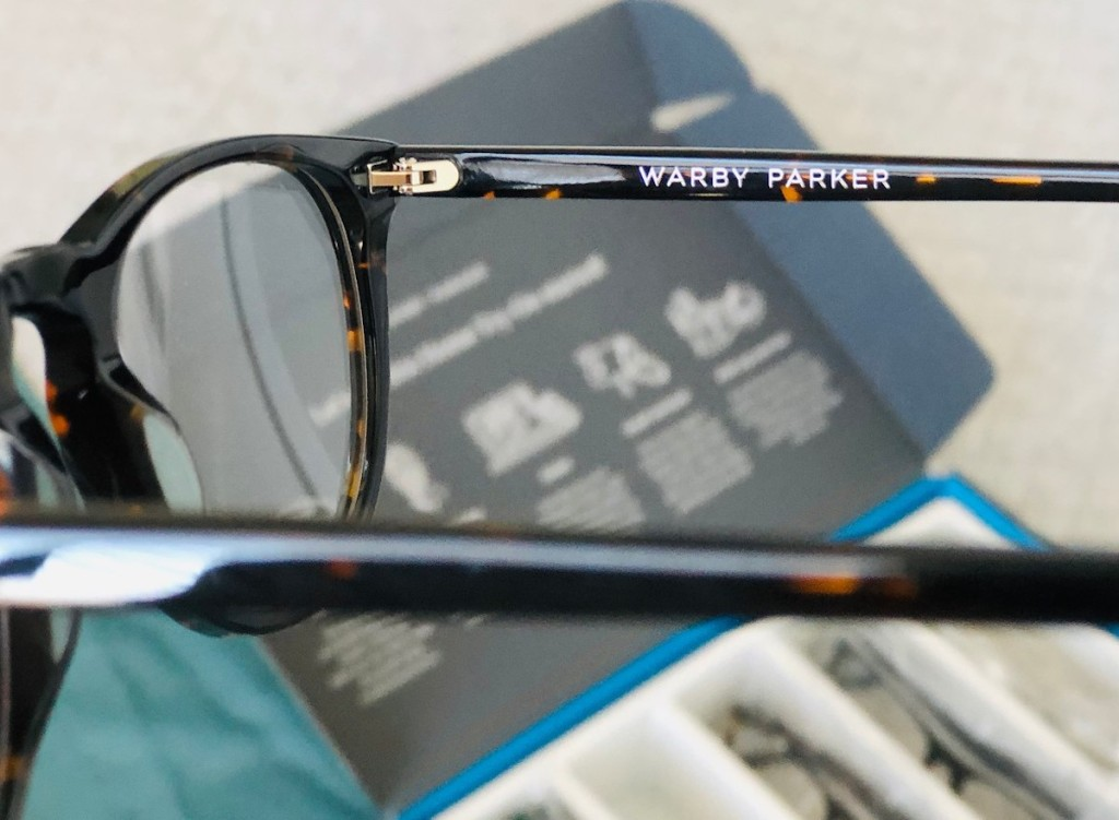 close up of warby parker