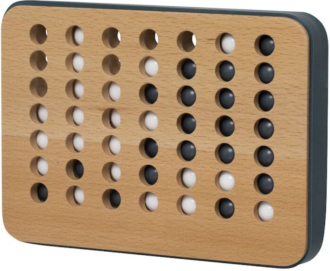 4 in a row wooden game with marbles inside
