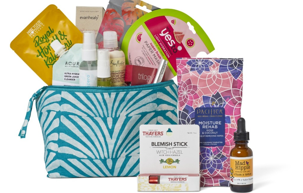 Whole Foods Beauty Bag filled with products