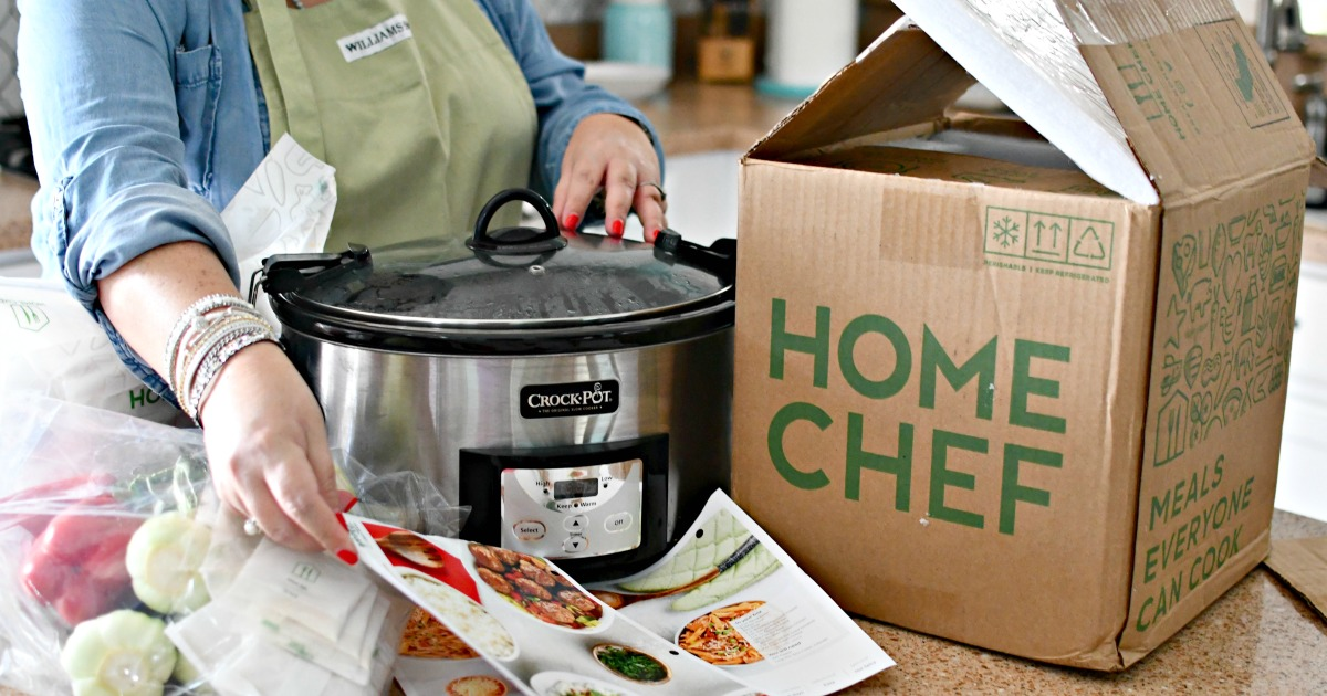 woman cooking a home chef slow cooker meal