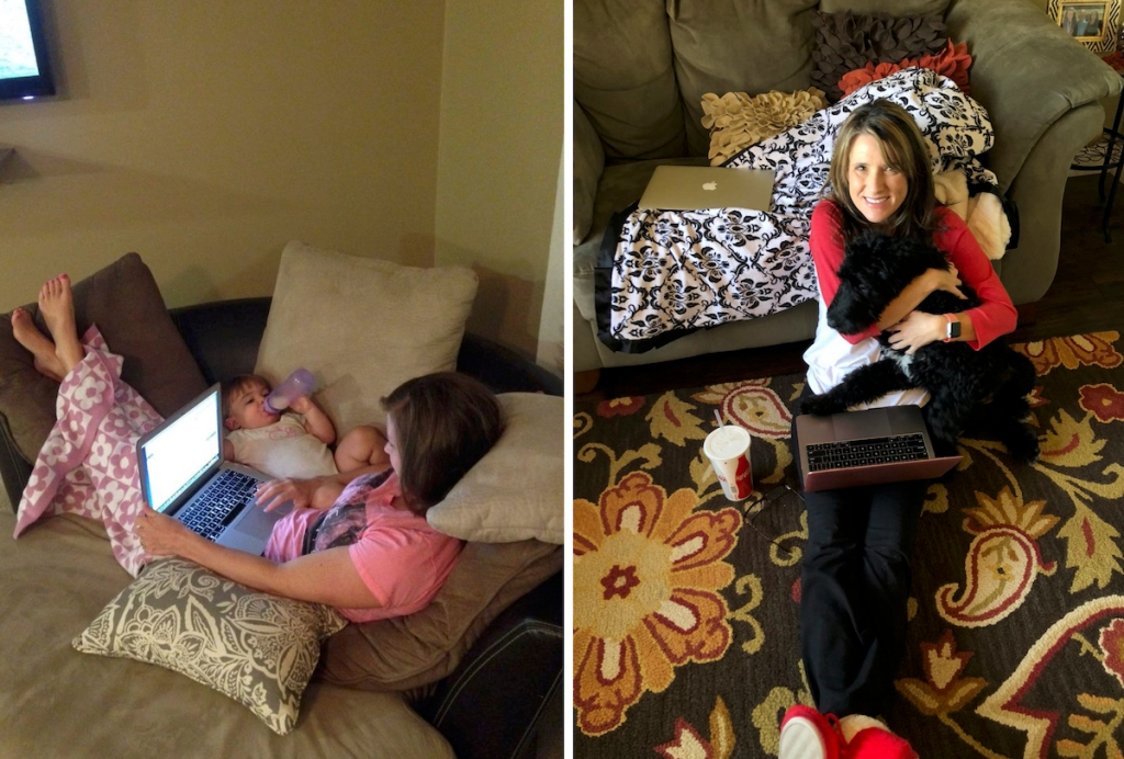 woman on laptop next to baby and bottle with feet up on the couch