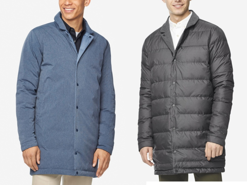 men modeling blue and gray reversible coats