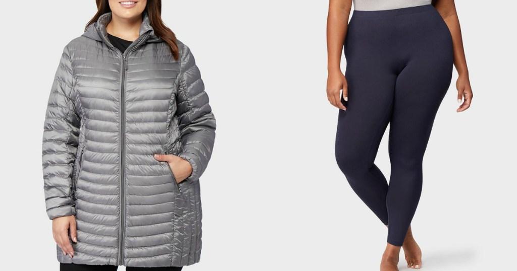 woman wearing a long jacket and leggings