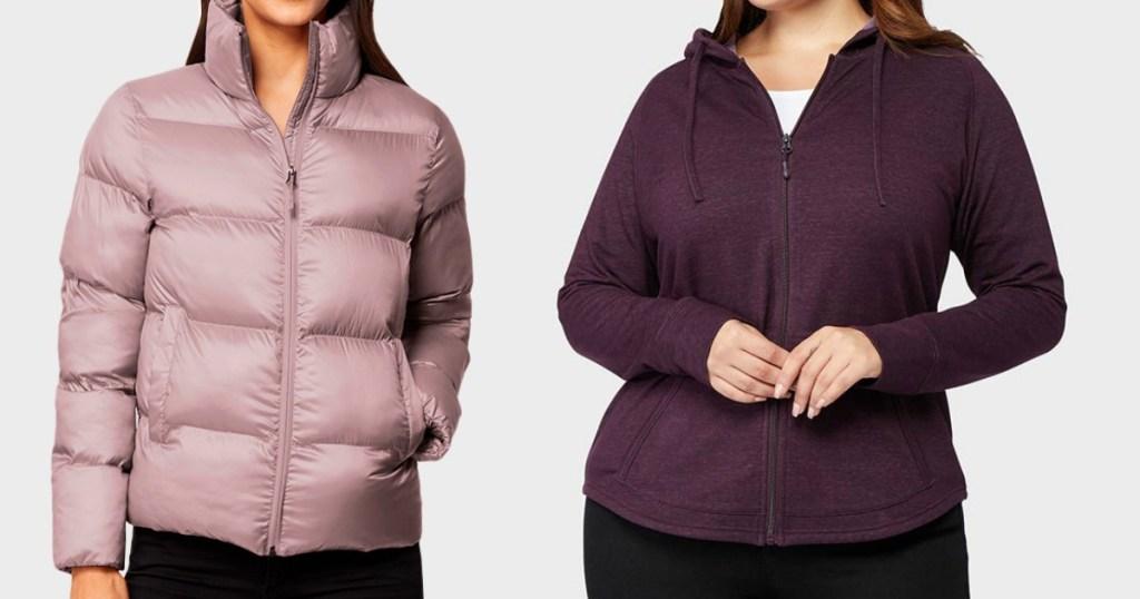 woman wearing a jacket next to a woman wearing a sweatshirt