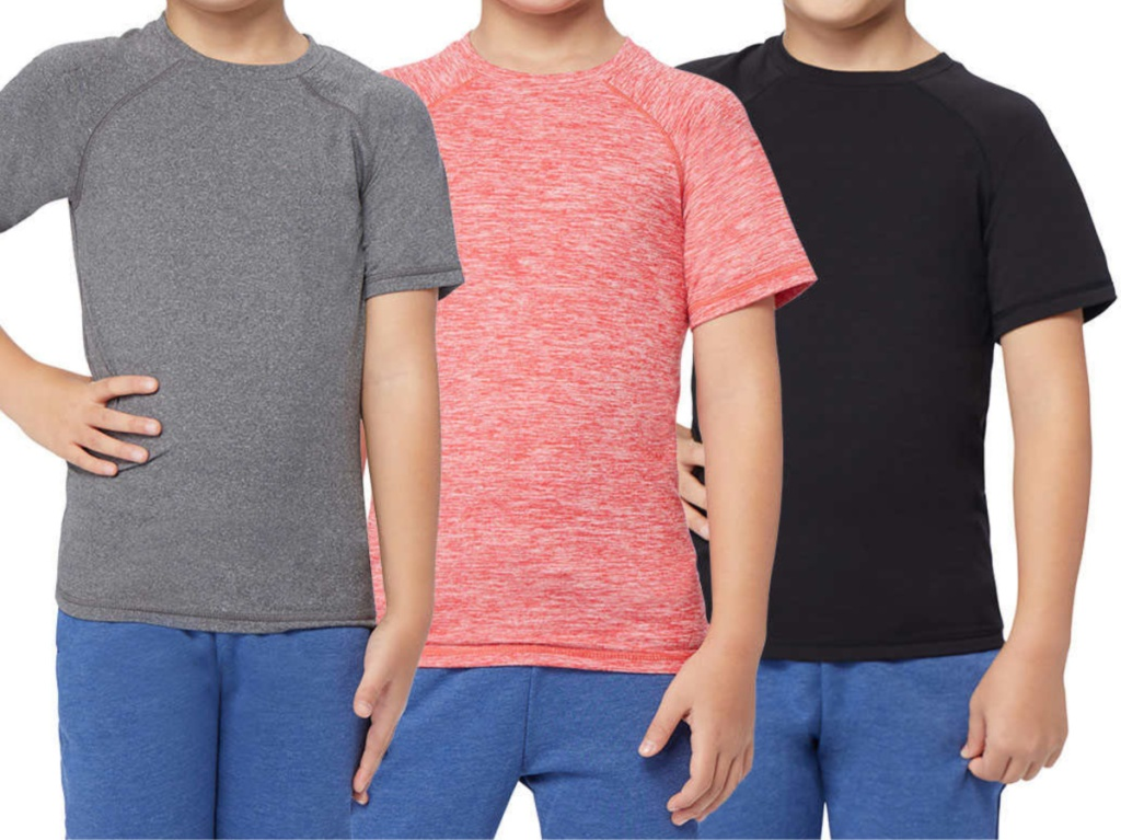three boys in gray, red, and black t-shirts