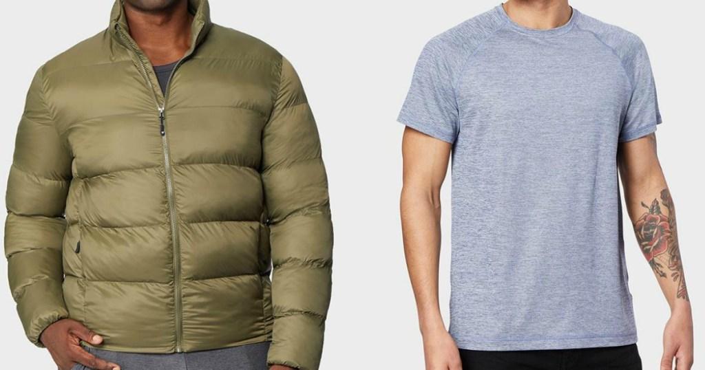 man wearing a jacket next to a man wearing a t-shirt