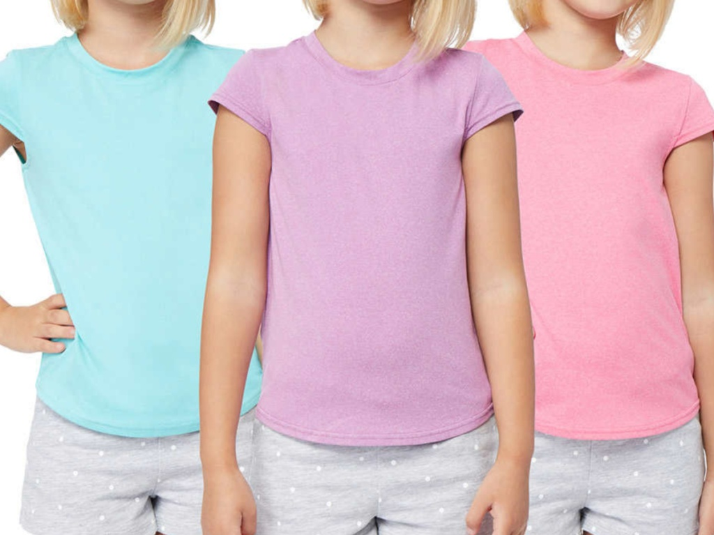 three girls in mint, purple, and pink t-shirts