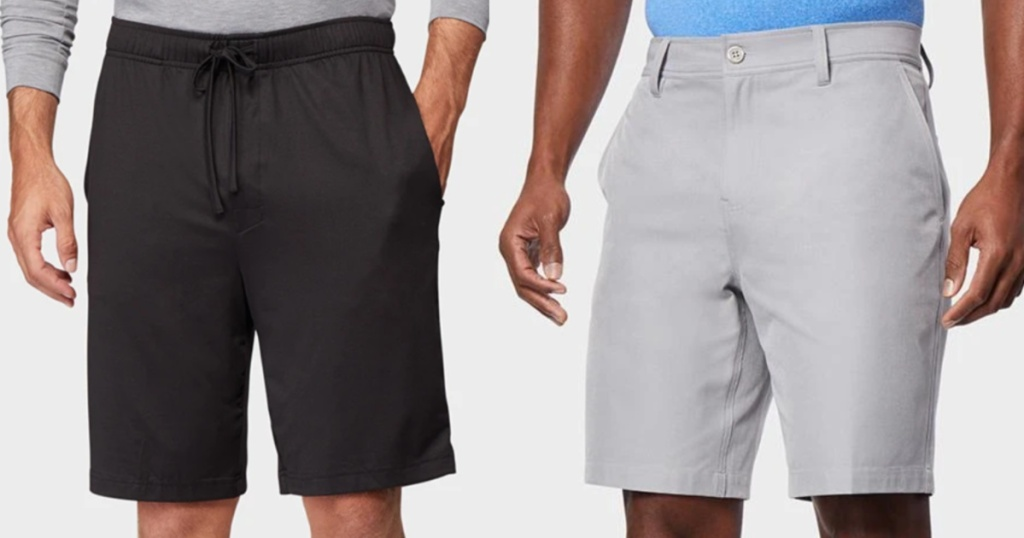 two men standing next to each other wearing shorts hands on their sides