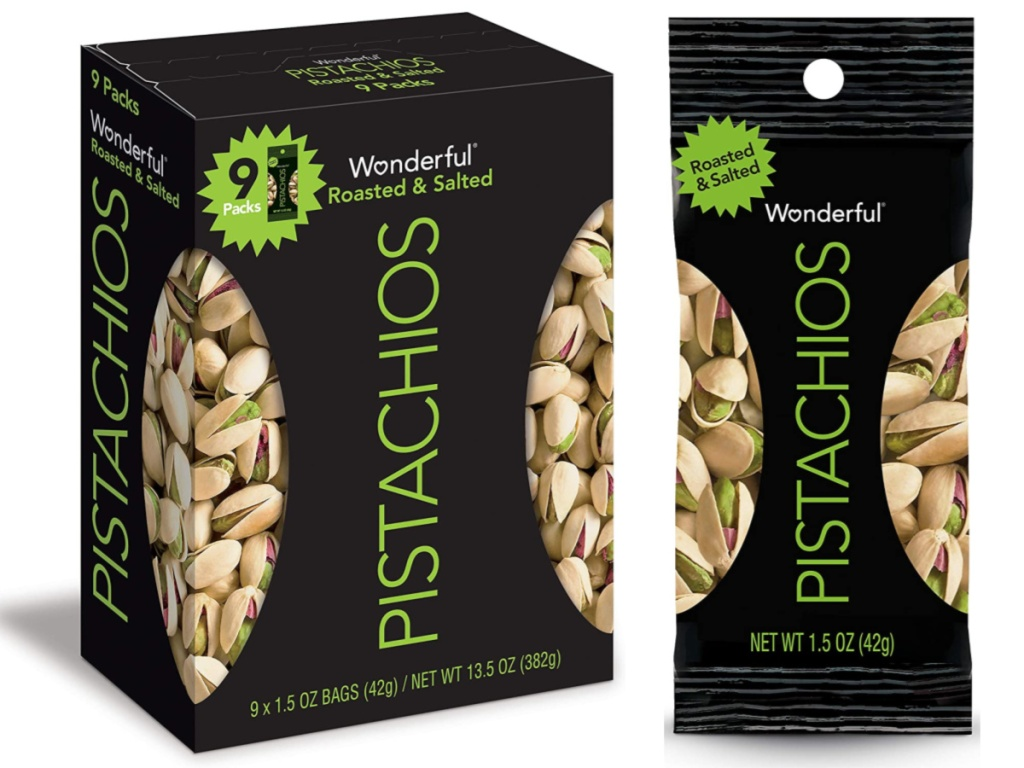 9-Pack of Wonderful Pistachios, Roasted and Salted, 1.5-ounce Bags