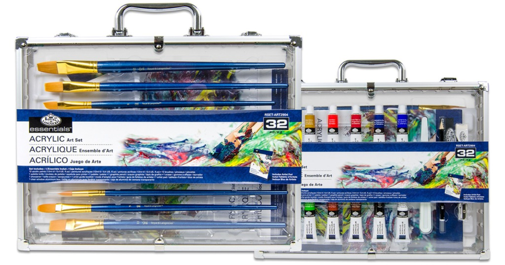 acrylic art sets in clear carrying cases, one with paint brushes and one with different colors of paint tubes