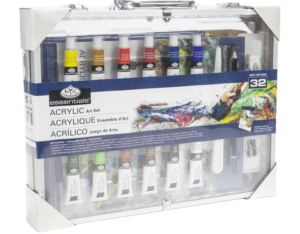acrylic paint set with 12 different colors of paint inside a clear carrying case