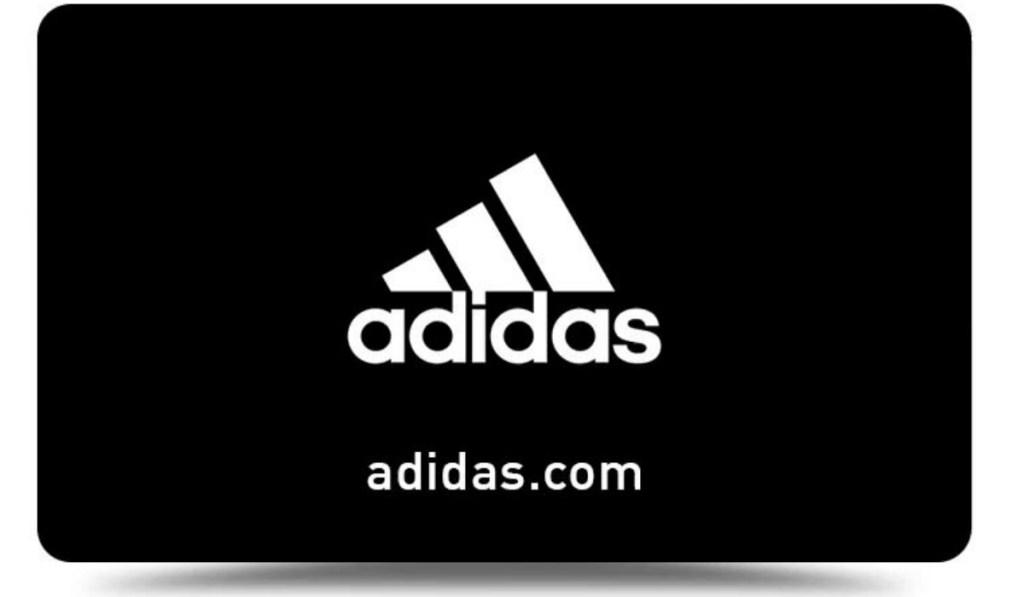 Black gift card for Adidas.com with logo