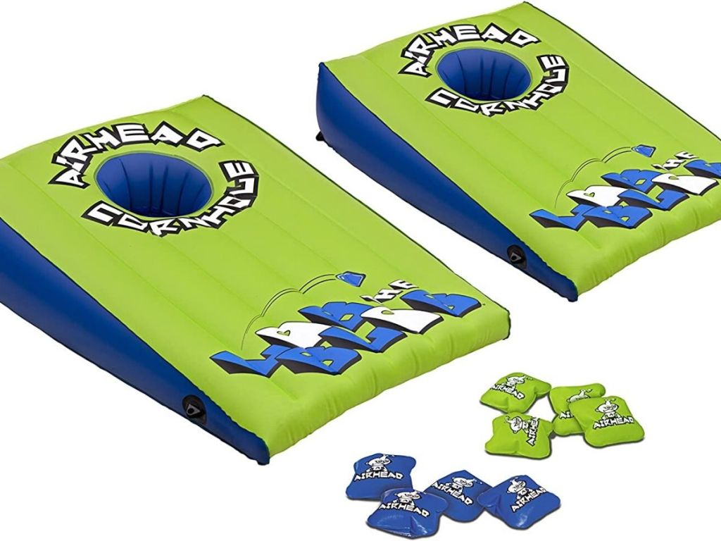 inflatable cornhole game and beanbags