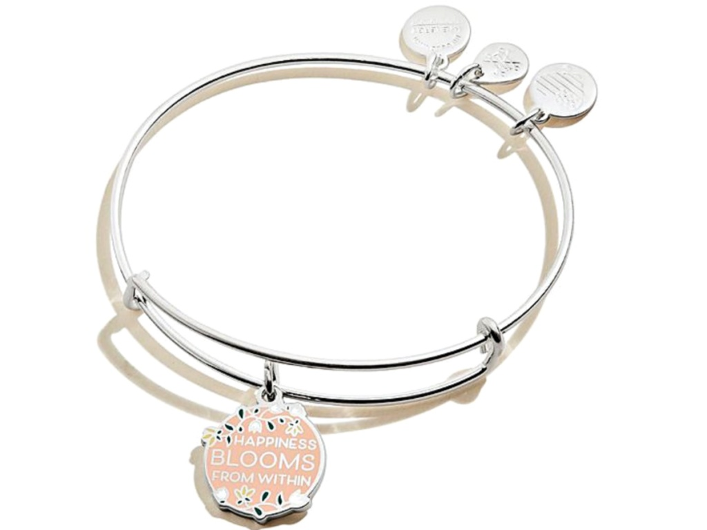 Alex and Ani Floral 'Happiness Blooms From Within' Adjustable Charm Bangle