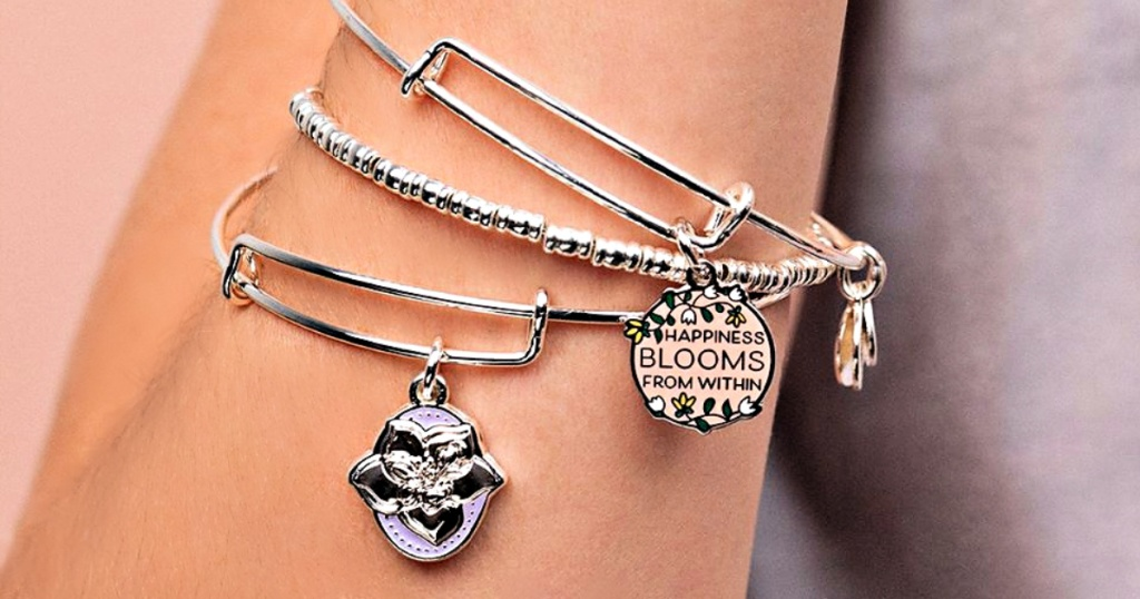 Alex and Ani Happiness Within on woman's wrist