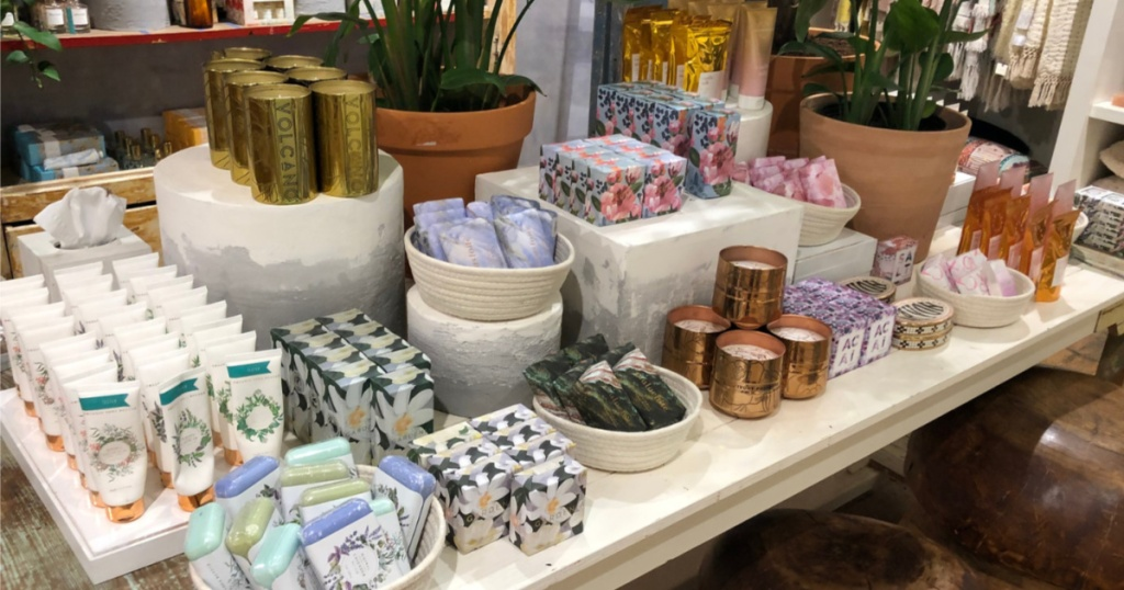 various home products on large table in store