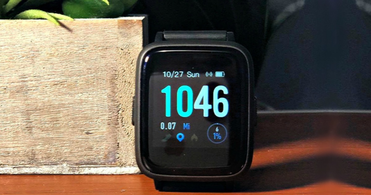 closeup of smart watch on table