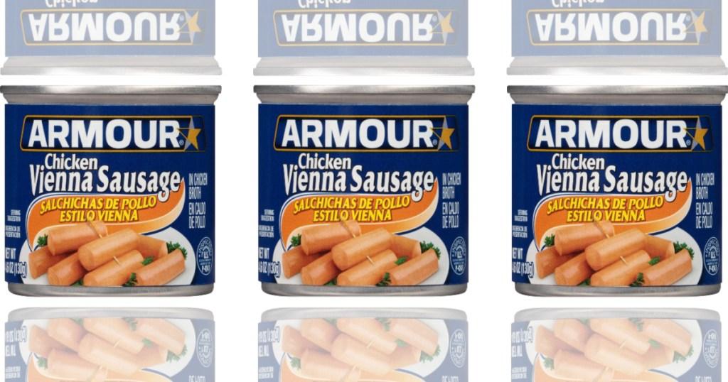 three cans of chicken vienna sausage