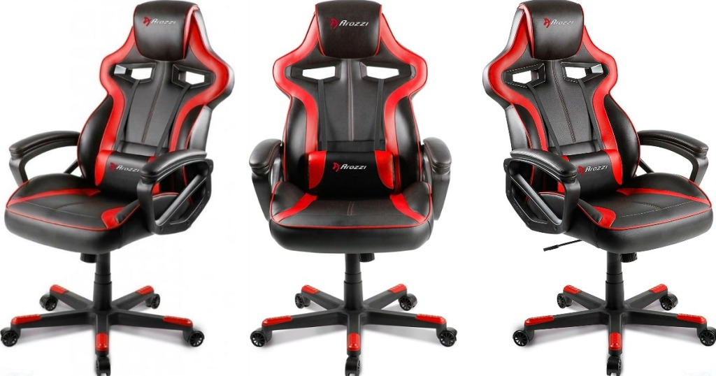 three images of a black and red gaming chair