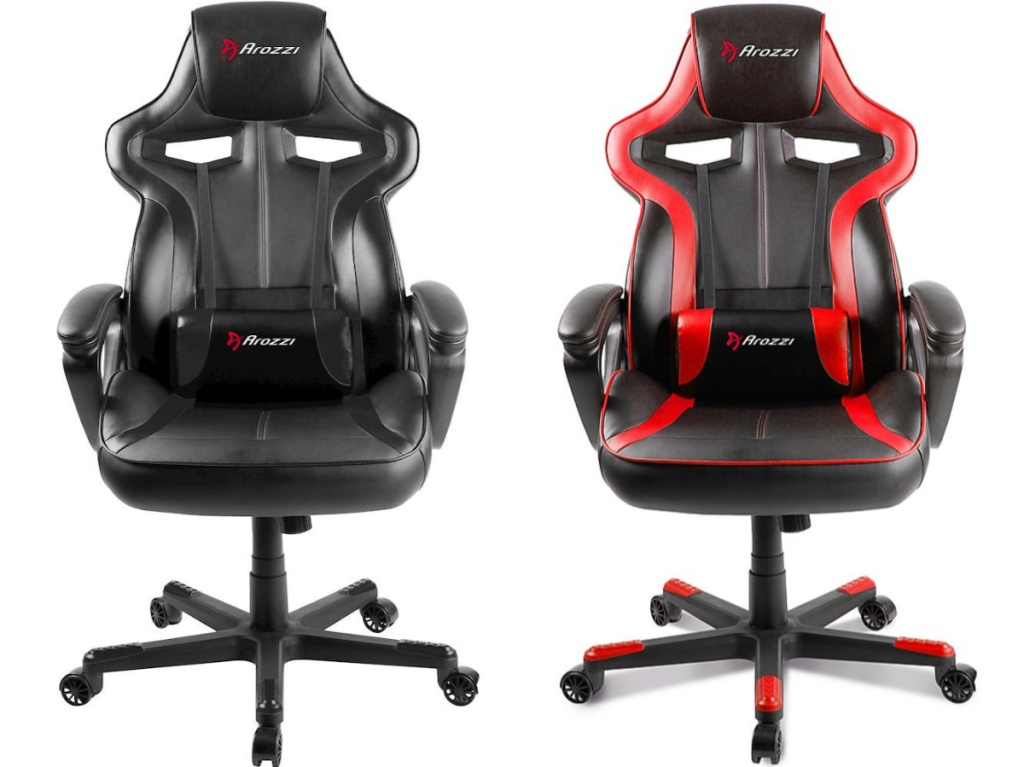 black gaming chair and red and black gaming chair