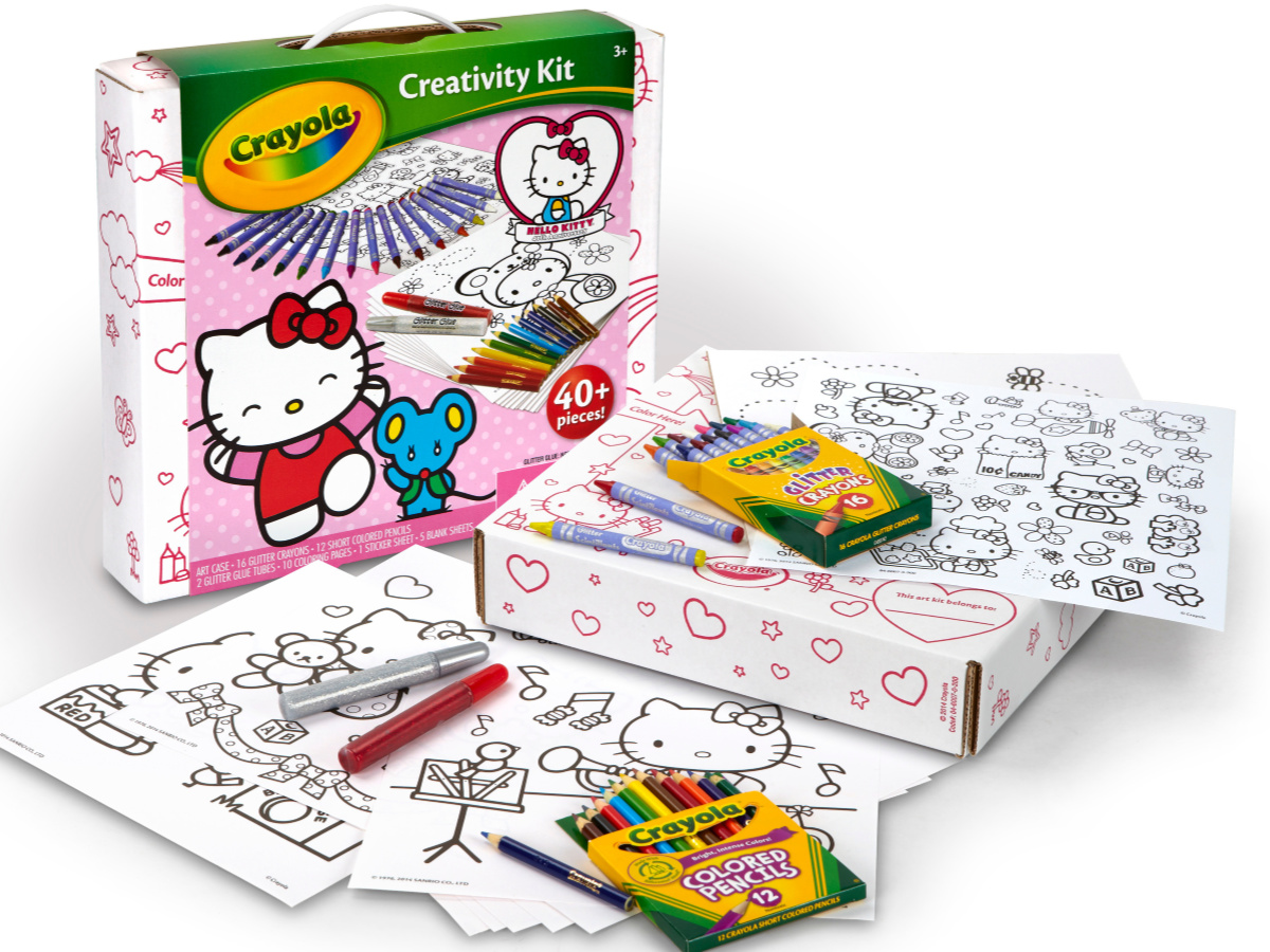 Hello Kitty Art Kit with coloring pages, stickers, and colored pencils
