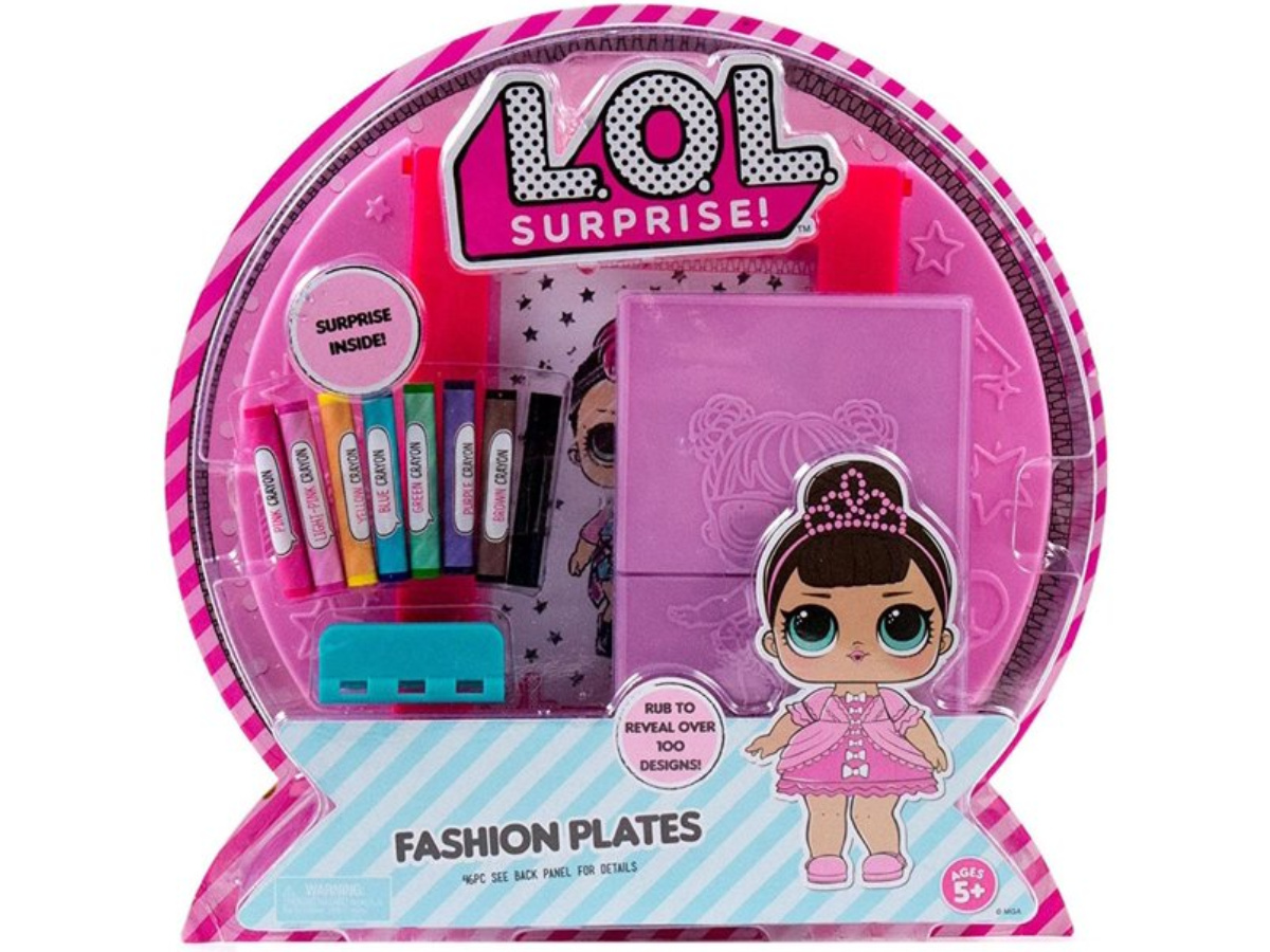 Lol! Surprise Kit with fashion plates and crayons in package