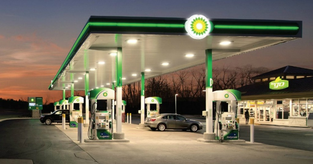 BP Gas Station at dusk