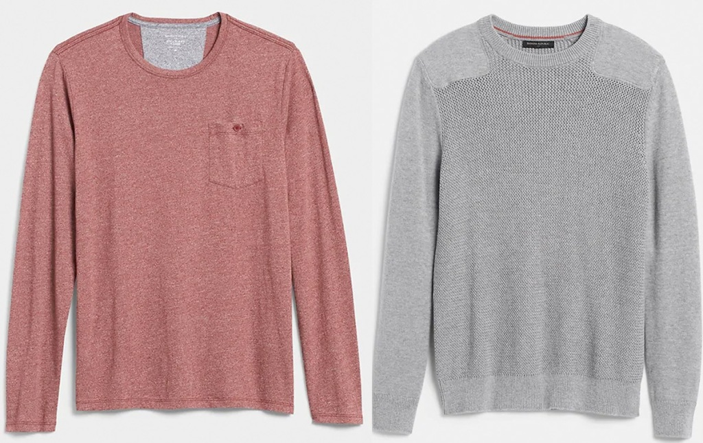 mens light red sweater with pocket, and mens light grey sweater with detail on shoulders