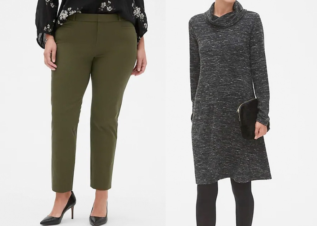 woman wearing olive green ankle length pants and woman wearing grey turtleneck sweater dress with black tights