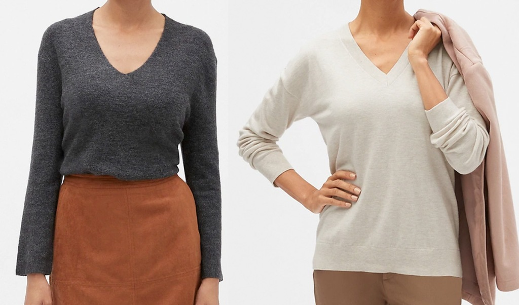 woman wearing grey v-neck sweater with tan skirt, and woman wearing light grey v-neck sweater