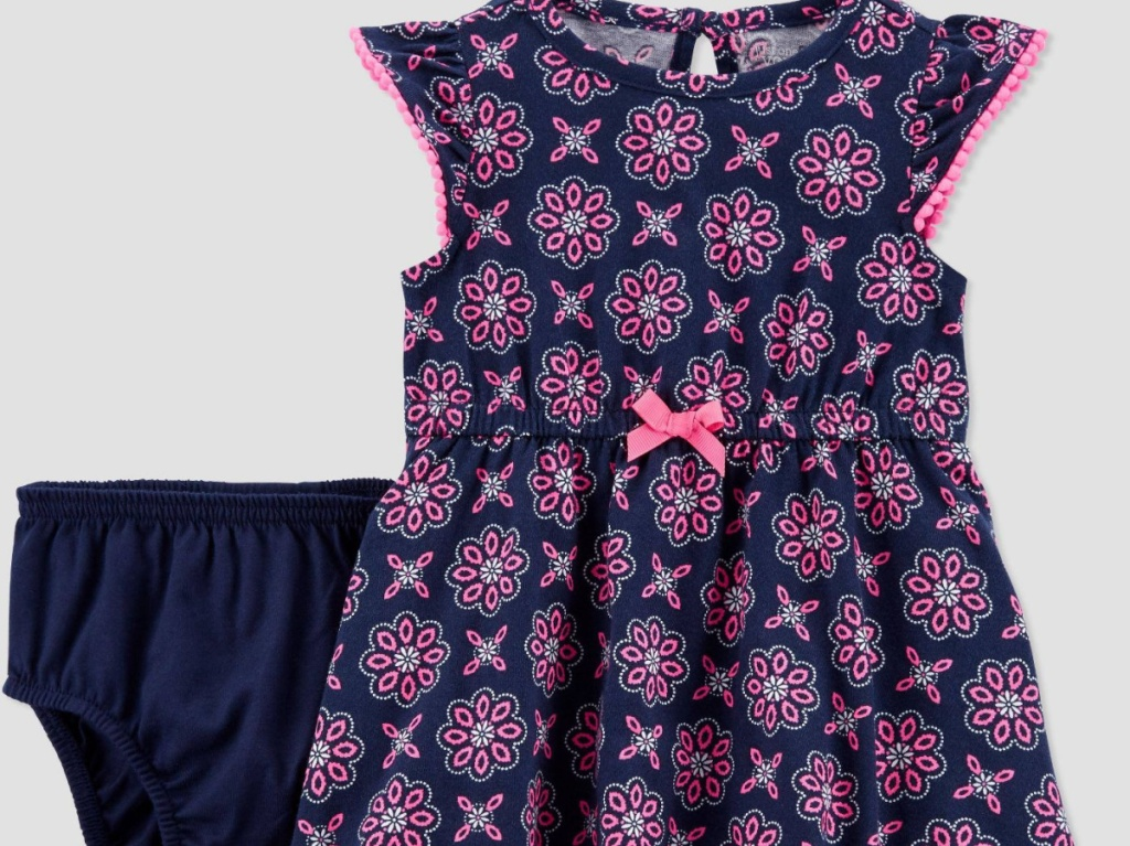 baby geometric pattern purple and navy dress and navy shorts