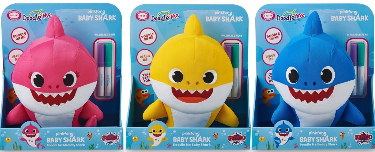 Baby Shark Doodle Dolls of mommy daddy and baby shark
