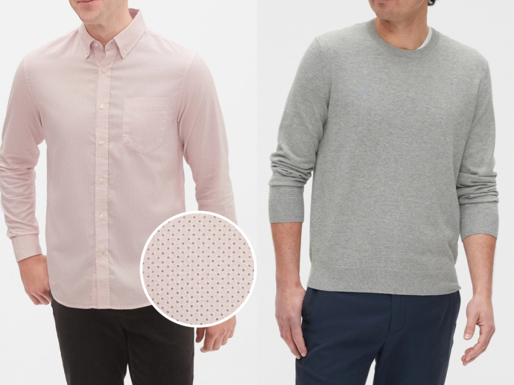 man in pink printed button up top and man in grey sweater