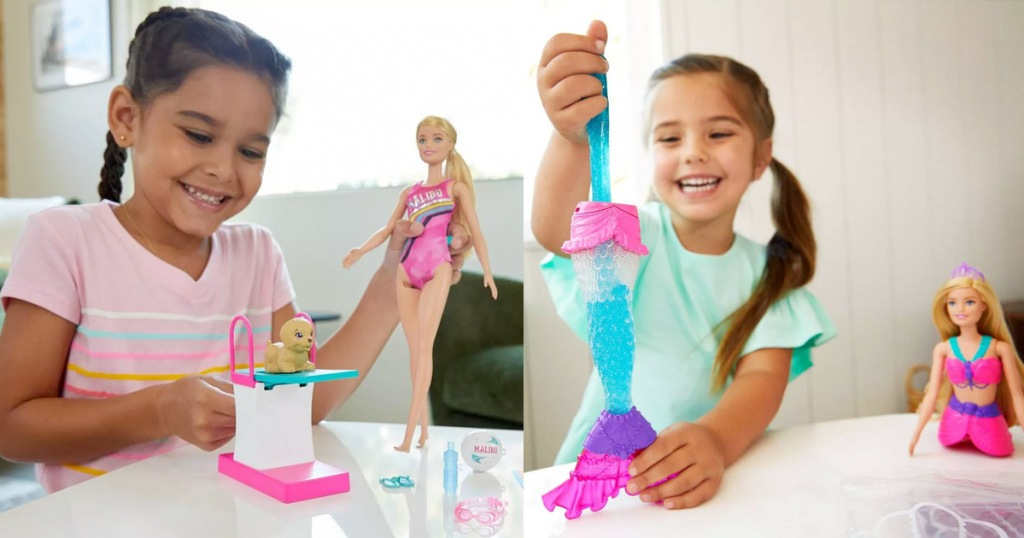 girl playing with a barbie swim doll and a girl playing with a mermaid slime barbie doll