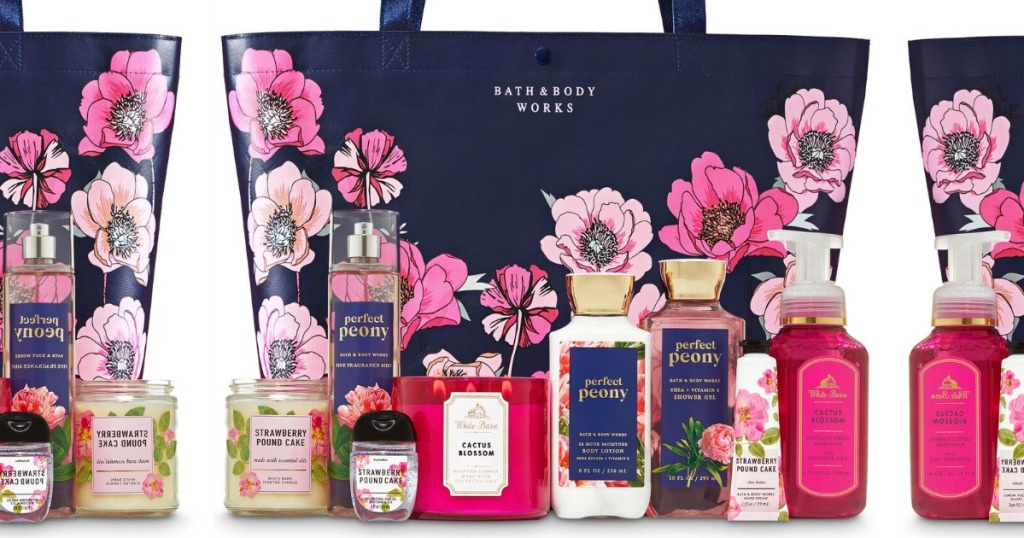 Bath & Body Works Spring Tote with candles and lotions