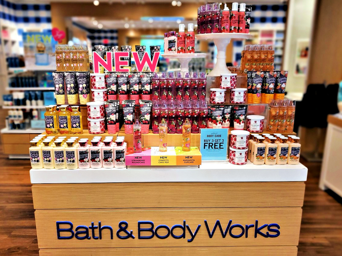 Bath and Body Works display of new items for Spring 2020