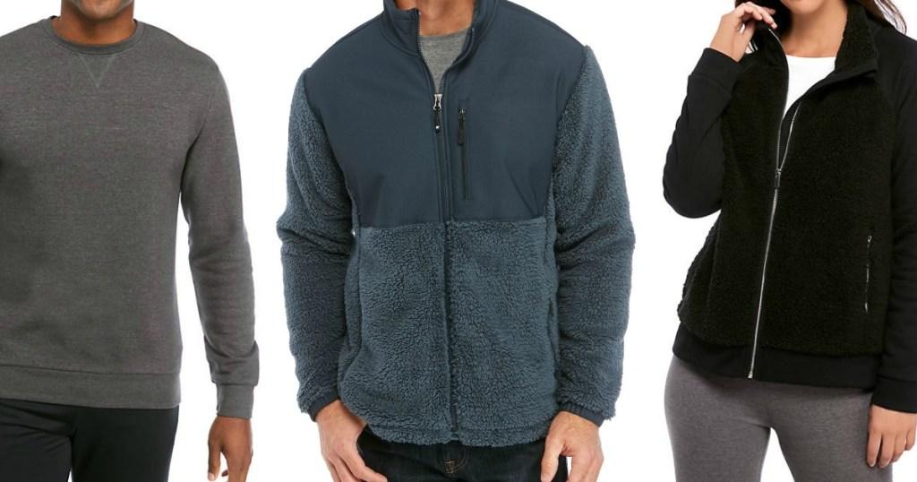 three people wearing sweatshirts